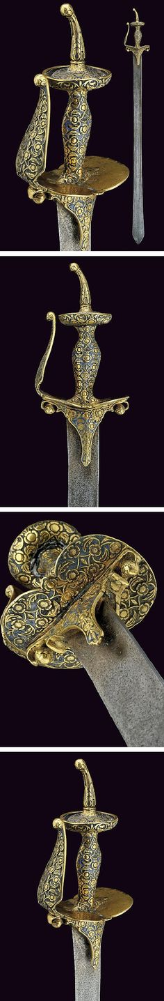 Indian khanda, ca 1800. The khanda (from Sanskrit खड्ग khaḍga) is a South Asian double-edge straight sword. The blade is usually broad and quite heavy & broadens from the hilt to the tip. The blade transforms into tip rather abruptly. The hilt has a small metal spike. The khanda & related straight swords are generally used in Indian theater & art to represent the weapons of the ancient period of Indian history.