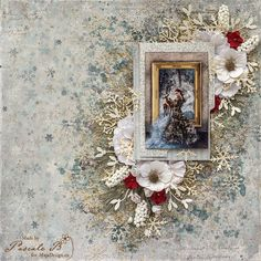 """""""The Lady of Chenonceau"""" by Pascale B. Absolutely gorgeous work! Papers from MajaDesign's Joyous Winterdays collection. <3  #layout #LO #lo #scrapbooking #scrapbook #scrapping #scrap #papercraft #papercrafting #papercrafts #majadesign #majadesignpaper #majapapers #inspiration #vintage"""
