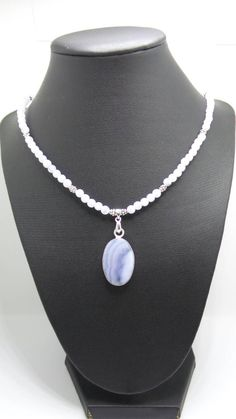 Handmade Blue Lace Agate beaded necklace with Blue Lace Agate pendant. by FierStaarGems on Etsy