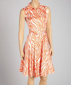 Another great find on #zulily! Coral & White Stripe Sleeveless Dress by Cece's New York #zulilyfinds