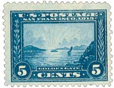 Real US Stamps Values Scott Catalogue # 399 from the latest philatelic sales: 1913 Panama-Pacific Exposition: Golden Gate. Stamp Values, Rare Stamps, 5 Cents, Golden Gate, Postage Stamps, Panama, Vivid Colors, Mystic, Vintage World Maps