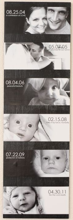combining Most Important dates in life with photos - I love how they used the meaning of the kids' names in the pictures More