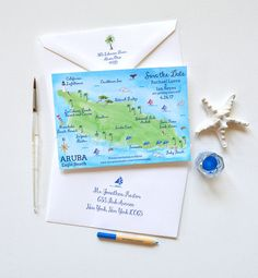 $102.25 Watercolor destination wedding save the date Aruba map. 100% original watercolor illustrations. By artist Michelle Mospens.  Invite your guests in STYLE! Inspired by my love of watercolor, this map save the date features my original hand-painted watercolor map illustration. Each save the date design is then printed stroke for stroke for a LOVELY hand-painted effect. Proudly printed and handmade in our Ohio, USA studio.  ARUBA MAP ____________________________________________  LISTING