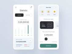 banking layout Statistic and Setting Goals pages for Banking app by Brave Wings on Dribbble Web Design Grid, Design Ios, Dashboard Design, Interface Design, User Interface, Flat Design, Graphic Design, Design Thinking, Wireframe Mobile