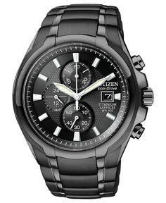 Men's Chronograph Eco-Drive Black Titanium Carbide Ion-Plated Watch