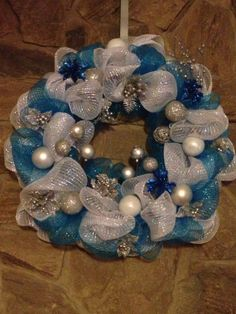 White Blue and Silver Decomesh Christmas by TheEtherealSummer, $60.00