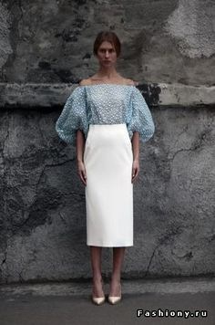 Soft blue puff sleeved off the shoulder blue blouse, floral embellishments,  clean, crisp, masterfully tailored white skirt. Very Valentino.  Enjoy RUSHWORLD boards, UNPREDICTABLE WOMEN HAUTE COUTURE, WEDDING GOWN HOUND and MOOD BUSTERS FEEL BETTER NOW. Follow RUSHWORLD! We're on the hunt for everything you'll love! #HauteCouture #TrendingFashion #WhatToWear