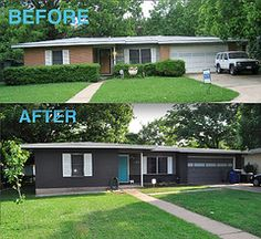 Before and After (shakerdesigns) Tags: ranch blue white house modern grey paint exterior gray atomic midcentury