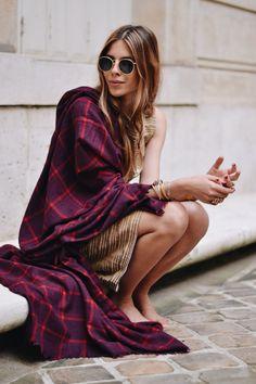 MAJA WYH  oversize purple wine blanket scarf with biscuity retro stripe dress!? love her No1 style crush