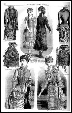 Young Ladies Journal 1881 [fashion and fancy-work pages] 1880s Fashion, Victorian Fashion, Vintage Fashion, Historical Costume, Historical Clothing, Vintage Gowns, Vintage Outfits, Victorian Hairstyles, Vestidos
