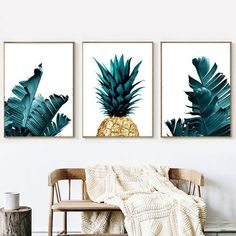Gold Pineapple Palm Leaf Wall Art Set of 3 Botanical Print