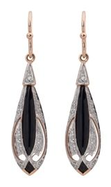 Art Deco Style Drop Earrings in 9K Rose & White Gold, Diamonds and Onyx, Very Sharp Looking Indeed.