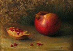 Juliette Aristides shown at John Pence Gallery in San Francisco Juliette Aristides, Be Still, Still Life, Pomegranate Fruit, Beautiful Paintings, Food Art, Art Lessons, Painting & Drawing, Pomegranates