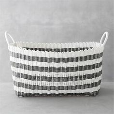 Grey-White Stripe Laundry Hamper I Crate and Barrel