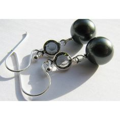 Black Pearl Earrings, Swarovski Black Diamond Crystal Earrings, Bali... (650 UAH) ❤ liked on Polyvore featuring jewelry, earrings, white pearl earrings, sterling silver jewellery, earring jewelry, black diamond jewelry and pearl crystal earrings