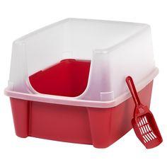 Iris Open Top Cat Litter Box, Red