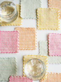 Whits Knits: Pin Loom Coasters - The Purl Bee - Knitting Crochet Sewing Embroidery Crafts Patterns and Ideas!