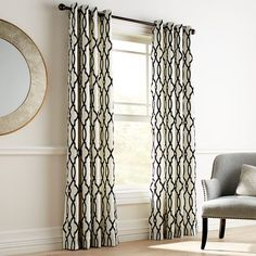 Window treatments Flocked Trellis Black & White Grommet Curtain Breast Enhancers Throughout history, Pier 1 Curtains, Grommet Curtains, Drapery Panels, Valances, Curtain Patterns, Curtain Designs, Curtain Ideas, Black And Gold Curtains, Living Room Decor Curtains