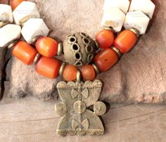 African necklace - Bohemian necklace. Beaded, Orange Amber and African Batic Bonebeads, handmade Ghana Brass beads - ROCKS on FIRE - Bohemian jewelry & African jewelry   by DazzlingDivaJewels, $197.00   Designed & Created by Patrice