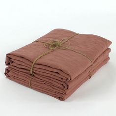 Stonewashed Bed Linen Top Sheet | Brick - linenshed
