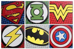"SUPER HERO LOGOS  ACRYLIC ON MUSEUM CANVAS  SIX 20"" X 20"" Paintings"
