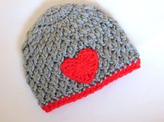 Valentine baby boy - Heart crochet beanie for boy - gray and red baby newborn toddler - photography photo prop - Handmade by CrochetToZ