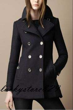 Women Black OL Wool coat double breasted button by luckystore829