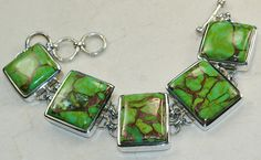 Green Copper Turquoise bracelet designed and created by Sizzling Silver. Please visit  www.sizzlingsilver.com. Product code: BR-8090