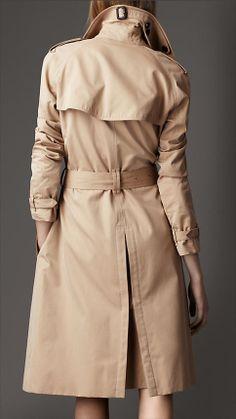 Burberry Long Cotton Gabardine Trench Coat in Honey - Back
