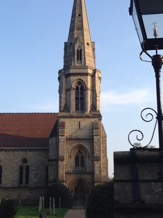 Street lamp and church