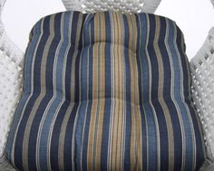 """Indoor / Outdoor 19"""" x 19"""" Universal Tufted Wicker Seat Chair Cushion - Tommy Bahama Blue Tan Stripe Indoor Outdoor, Tans, Tommy Bahama, Seat Cushions, Fashion, Sun Tanning, Bench Seat Cushions, Moda, Fashion Styles"""