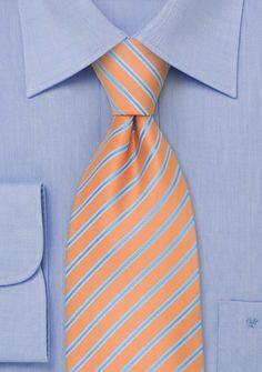 Orange Tie With Light Blue Stripes