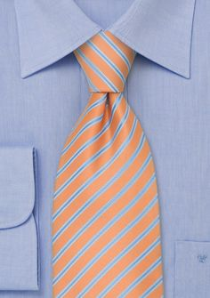 Maybe for the Dads - Peach Orange and Baby Blue Striped Necktie