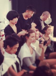TRES team in full effect backstage at Nanette Lepore! #TRESmbfw #mbfw