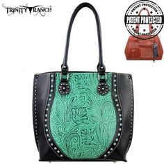 TR23G-8570 Montana West Trinity Ranch Tooled Design Concealed Handgun Handbag - Walmart.com