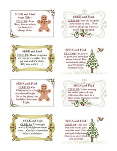 Christmas Scavenger Hunt Clues  for the younger one some good for xS4LnfNU