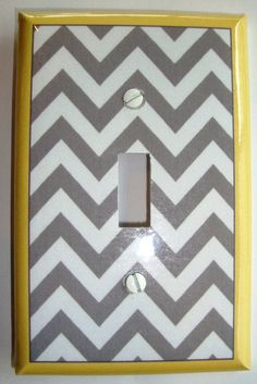 For Baby K's room-Handmade Grey and Yellow Zig Zag Single Switchplate Cover. $7.99, via Etsy.