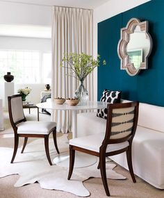 teal + white dining design by Lindsey Meadows