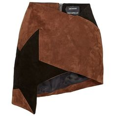 Anthony Vaccarello Brown Colorblock Star Asymmetric Mini Skirt (101.310 RUB) ❤ liked on Polyvore featuring skirts, mini skirts, suede skirt, asymmetrical skirt, brown skirt, mini pencil skirt and high waisted mini skirt