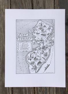 New Jersey Map Print / Vintage Map Art / State Map Decor / NJ  #newjersey #vintage #reprint #map #newjerseymap #travelart