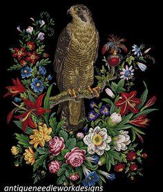 Gallery.ru / Фото #6 - ANTIQUE 19TH CENTURY VICTORIAN NEEDLEWORK PANEL OF A HAWK, - elif84