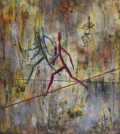 """Marian Lupu LUPINO -Email: mlupubm@yahoo.com -""""Fugitives""""(Fugarii)-oil on canvas(1995)-49x43 cm-2300$"""