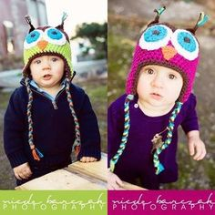 TOO CUTE!  Too bad I already have 2 sets (yes, that means 4 in total) owl hats for my babies this Fall.