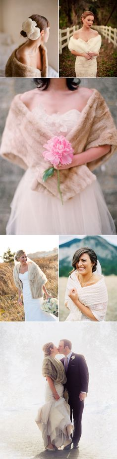 It's important for winter brides to consider a warm cover up option, so that you won't be shivering, damp, and cold on your wedding day, especially when you are outside in the cold for your romantic photo sessions. Fur shrugs, boleros, capes, and wraps are chic cover up options with a perfect blend of cozy, practical, and glamorous. Let these beautiful cover ups modeled perfectly by the bride below get you inspired.