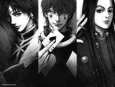 The villains of Hunter x Hunter -Chrollo/Kuroro, Hisoka and Illumi Hisoka, Killua, Anime Guys, Manga Anime, Anime Art, Hunter Anime, Hunter X Hunter, Silva Zoldyck, Bunka Pop
