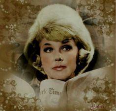 "Doris Day, Previous pinner says. ""Was a black and white, from ""Touch Of Mink"" My friend Dorine found. I added color to it.. You did a good job! Love this color photo of"