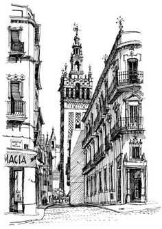 Keith Scott's sketch of La Giralda (Seville, Spain) May 1969.