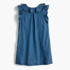 crewcuts Girls Chambray Ruffle Dress