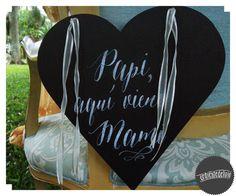 Detalles, pizarrita para Ian con mensaje en caligrafía ~ Ceremonia