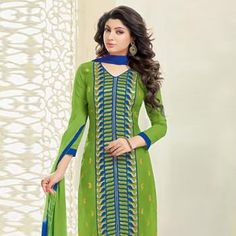 Green Blue Chanderi Cotton Salwar Kameez